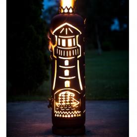 Feuerstelle Leuchtturm mit Schaf in Tür