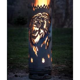 Feuertonne Löwe brüllend