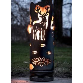 Feuertonne Hirsch mit Wald
