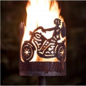 kleine Gartenfackel Motorrad
