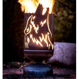 Feuerkorb heulender Wolf