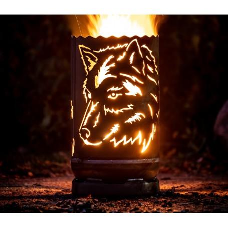 kleine Feuertonne Wolf seitlich