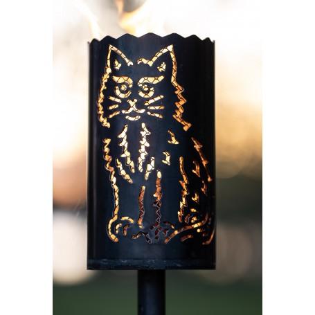 Gartenfackel Katze mit Designgitter (ohne Stiel)