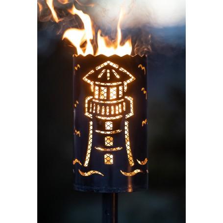 Gartenfackel Leuchtturm mit Designgitter (ohne Stiel)