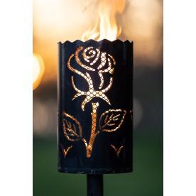 Gartenfackel Rose mit Designgitter (ohne Stiel)