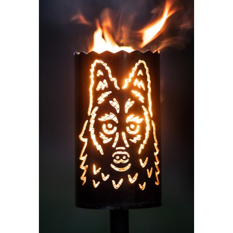 Gartenfackel Wolf lieb mit Designgitter (ohne Stiel)