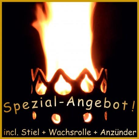"""Gartenfackel """"Zeitlos"""" incl. Stiel, 1x Wachsrolle und 32x Anzünder"""